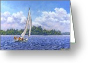 Sport Painting Greeting Cards - Sailing the Reach Greeting Card by Richard De Wolfe