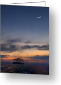 Moonrise Digital Art Greeting Cards - Sailing to the Moon Greeting Card by Mike McGlothlen