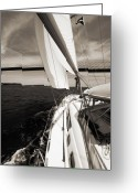 Sepia Greeting Cards - Sailing Under the Arthur Ravenel Jr. Bridge in Charleston SC Greeting Card by Dustin K Ryan