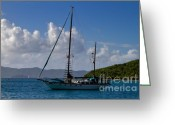 Van Dyke Greeting Cards - Sailing yacht at anchor Greeting Card by Louise Heusinkveld