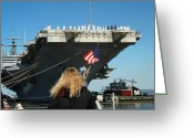 Warship Greeting Cards - Sailors Aboard Aircraft Carrier Uss Greeting Card by Stocktrek Images