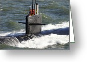 Submarines Greeting Cards - Sailors Aboard The Attack Submarine Uss Greeting Card by Stocktrek Images