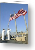 Cole Photo Greeting Cards - Sailors Conduct Morning Colors Aboard Greeting Card by Stocktrek Images