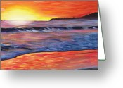 Waves Painting Greeting Cards - Sailors Delight Greeting Card by Anne West