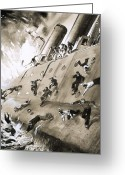 Aflame Greeting Cards - Sailors Escaping HMS Natal which Caught Fire in Cromerty Firth in 1915 Greeting Card by English School