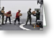 Assistance Greeting Cards - Sailors Load Boxes Of Food Onto An Greeting Card by Stocktrek Images