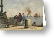 Taking A Break Greeting Cards - Sailors Greeting Card by Louis Alexandre Dubourg