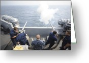 Gun Barrel Greeting Cards - Sailors Perform A 21-gun Salute Aboard Greeting Card by Stocktrek Images