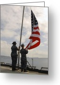 Flag Raising Greeting Cards - Sailors Raise The American Flag Aboard Greeting Card by Stocktrek Images