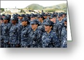 Camouflage Clothing Greeting Cards - Sailors Yell Before An All-hands Call Greeting Card by Stocktrek Images