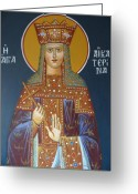 Byzantine Greeting Cards - Saint Aekaterina Greeting Card by George Siaba