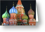 Night Greeting Cards - Saint Basils Cathedral On Red Square, Moscow Greeting Card by Lars Ruecker