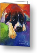 Custom Pet Portrait Greeting Cards - Saint Bernard Dog colorful portrait painting print Greeting Card by Svetlana Novikova