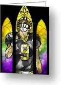 Louisiana Greeting Cards - Saint Brees Greeting Card by Mandie Manzano