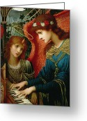 Wings Greeting Cards - Saint Cecilia Greeting Card by John Melhuish Strukdwic