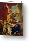 Cherubs Greeting Cards - Saint Cecilia Greeting Card by Nicolas Poussin