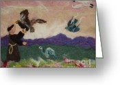 Felted Tapestries - Textiles Greeting Cards - Saint Francis and the Birds Greeting Card by Nicole Besack