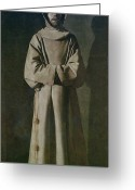 Cowl Greeting Cards - Saint Francis Greeting Card by Francisco de Zurbaran