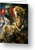 Fighting Painting Greeting Cards - Saint George and the Dragon Greeting Card by Peter Paul Rubens
