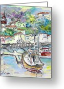 Atlantic Drawings Greeting Cards - Saint-Jean-de-Luz 02 Greeting Card by Miki De Goodaboom