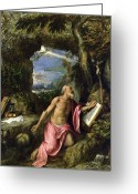 Books Greeting Cards - Saint Jerome Greeting Card by Titian