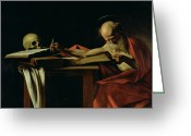 Elderly Painting Greeting Cards - Saint Jerome Writing Greeting Card by Caravaggio