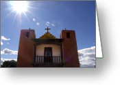 Taos Pueblo Greeting Cards - Saint Jeromes Chapel Taos Pueblo Greeting Card by Kurt Van Wagner