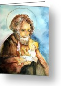 Saint Joseph Greeting Cards - Saint Joseph and Child Greeting Card by Myrna Migala