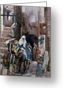 Paper Painting Greeting Cards - Saint Joseph Seeks Lodging in Bethlehem Greeting Card by Tissot