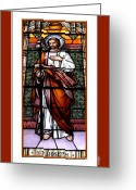 Saint Joseph Greeting Cards - Saint Joseph  Stained Glass Window Greeting Card by Rose Santuci-Sofranko