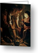 Tour Greeting Cards - Saint Joseph the Carpenter  Greeting Card by Georges de la Tour