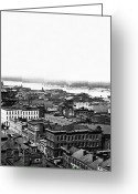 St Louis Missouri Greeting Cards - Saint Louis Missouri - Aerial view of commercial district - c 1860s Greeting Card by International  Images