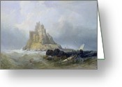 The Rocks Greeting Cards - Saint Michaels Mount in Cornwall  Greeting Card by William Clarkson Stanfield