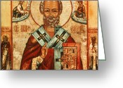 Icon Byzantine Greeting Cards - Saint Nicholas Greeting Card by Granger