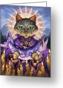 Feline Painting Greeting Cards - Saint of Salmons Greeting Card by Jeff Haynie