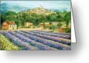Europe Painting Greeting Cards - Saint Paul de Vence and Lavender Greeting Card by Marilyn Dunlap