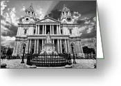 Wren Greeting Cards - Saint Pauls Cathedral Greeting Card by Meirion Matthias
