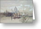 Urban Watercolour Greeting Cards - Saint Pauls from the River Greeting Card by David Roberts