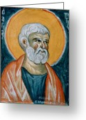 Byzantine Icon Greeting Cards - Saint Peter Greeting Card by George Siaba