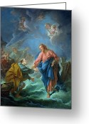 Cherubs Greeting Cards - Saint Peter Invited to Walk on the Water Greeting Card by Francois Boucher