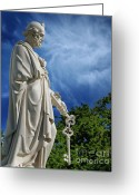 Guardian Angel Greeting Cards - Saint Peter with Keys to Heaven Greeting Card by Peter Piatt