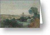 Inness Greeting Cards - Saint Peters seen from the Campagna Greeting Card by George Snr Inness