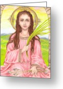 Adolescents Greeting Cards - Saint Philomena Greeting Card by Michelle Bien