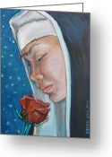 Nun Greeting Cards - Saint Rita of Cascia Greeting Card by Bryan Bustard