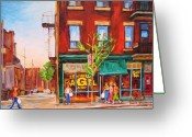 Montreal Summer Scenes Greeting Cards - Saint Viateur Bagel Greeting Card by Carole Spandau