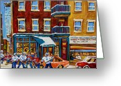 Hockey On The Streets Of Montreal Greeting Cards - Saint Viateur Bagel With Hockey Greeting Card by Carole Spandau