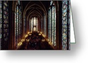 Medieval Architecture Greeting Cards - Sainte-chapelle Interior Showing Greeting Card by James L. Stanfield