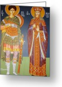 Byzantine Greeting Cards - Saints Dimitrius and Aekaterina Greeting Card by George Siaba