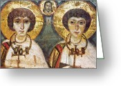 Byzantine Icon Greeting Cards - Saints Sergius And Bacchus Greeting Card by Granger