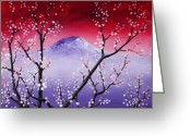 Red Drawings Greeting Cards - Sakura Greeting Card by Anastasiya Malakhova